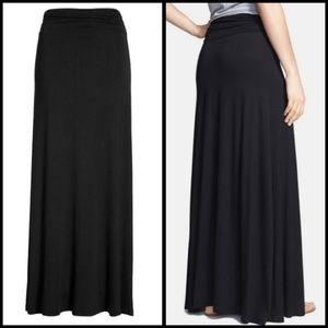 Bobeau Black Ruched Waist Maxi Skirt XS NWT
